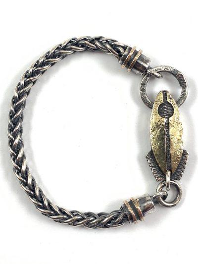 Bracciale pesce razzo lamina oro catena 1